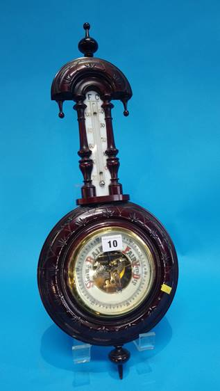 Lot 10 - A pair of carved panels and a barometer.