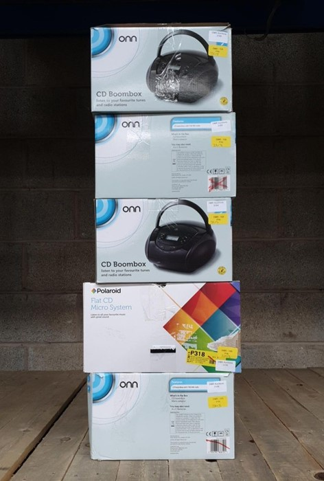Lot 47 - 1 LOT TO CONTAIN 5 ASSORTED ELECTRICALS, INCLUDES POLAROID FLAT MICRO SYSTEMS, ONN BOOMBOXES /