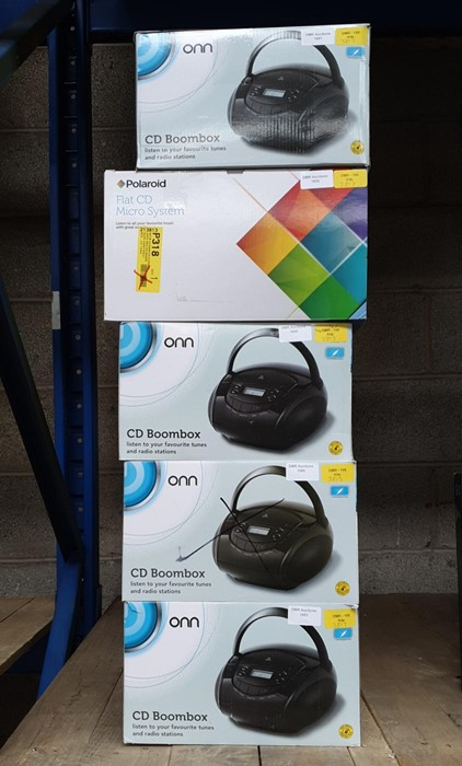 Lot 25 - 1 LOT TO CONTAIN 5 ASSORTED ELECTRICALS, INCLUDES POLAROID FLAT MICRO SYSTEMS, ONN BOOMBOXES /
