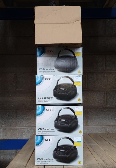 Lot 20 - 1 LOT TO CONTAIN 5 ASSORTED ELECTRICALS, INCLUDES, ONN BLACK BOOMBOXES, CD FLAT MICRO SYSTEM /