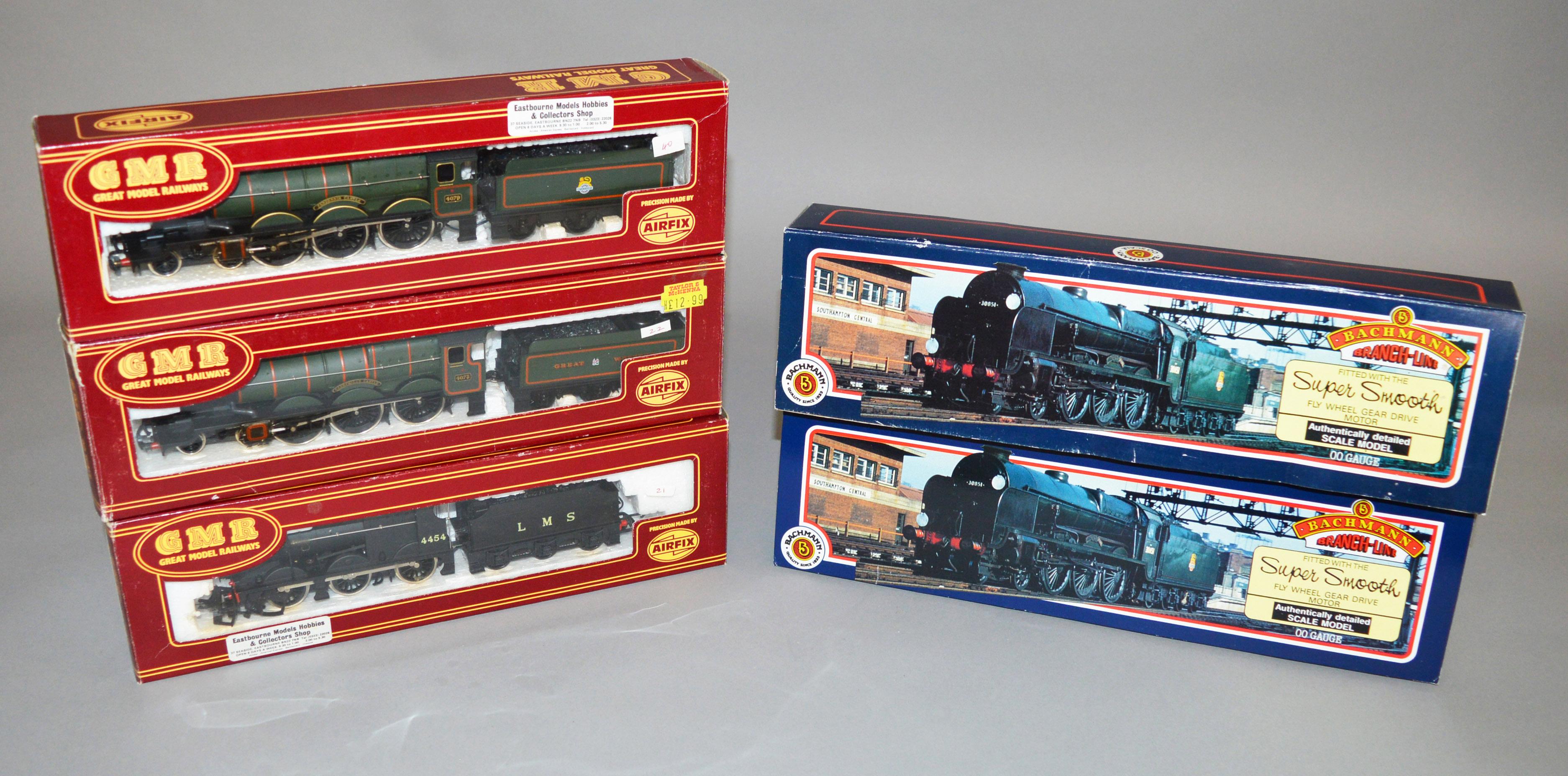 Lot 20 - OO gauge Five Locomotives: GMR 541255 BR 4-6-0 green 'Pendennis Castle';