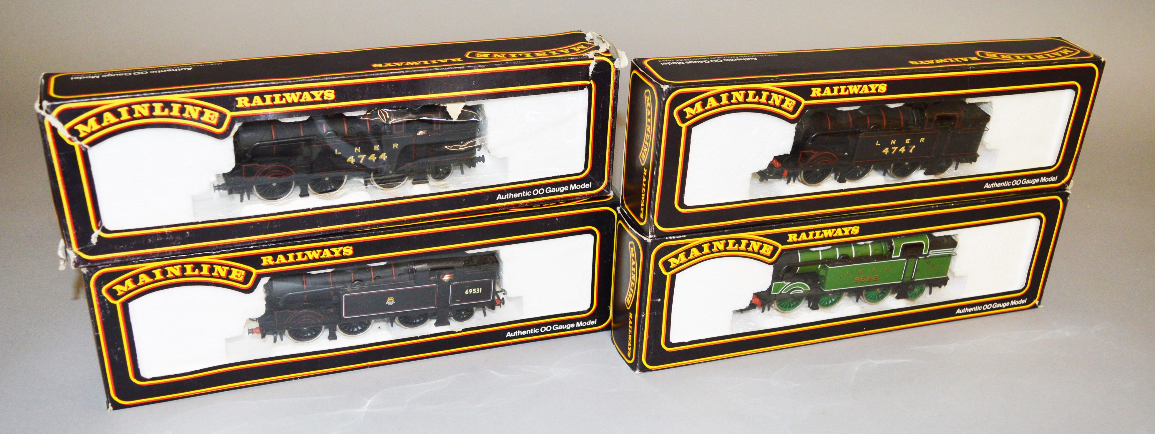 Lot 42 - OO Gauge. Four boxed 'Mainline' 0-6-2T Locomotives, including #54155 N2 Class BR Black Lined Livery.