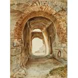 LauterbachThe Stone Vault of Regenstein Castle in the HarzWatercolour on paper, mounted in a mat..