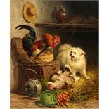 Henriette Ronner-KnipRooster and a Cat fighting over a Loaf of BreadOil on canvas. 81 x 66.5 cm.