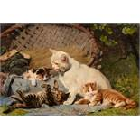 Julius Adam the YoungerMother Cat with three KittensOil on canvas. 26 x 40 cm.Signed lower right: