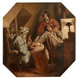 """Moritz von Schwind""""Herr Winter""""Oil on paper, laid down on cardboard. 25.5 x 25 cm.Remains of a"""