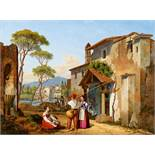 Michael NeherItalian street view with fishermenoil on metal. 31.5 x 43 cm.Monogrammed and dated