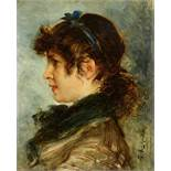 Friedrich August von KaulbachPortrait of a Young WomanOil on wood. 17.3 x 14.7 cm.Signed lower