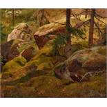 Andreas AchenbachForest Landscape with Moss Covered Boulders – Sceredere KlintenOil on panel (
