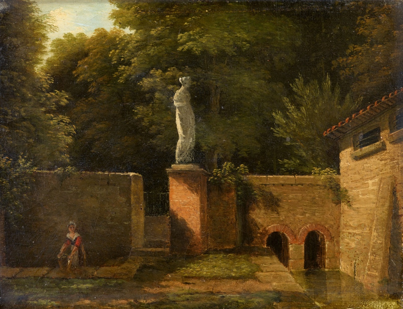 Jean-Victor BertinView of a Park with Fountain and Marble SculptureOil on canvas. 16.5 x 22 cm.