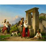 Theodor Leopold WellerA Hunter and a Young Woman at a Well in SoraOil on canvas. 73.5 x 91 cm.Signed