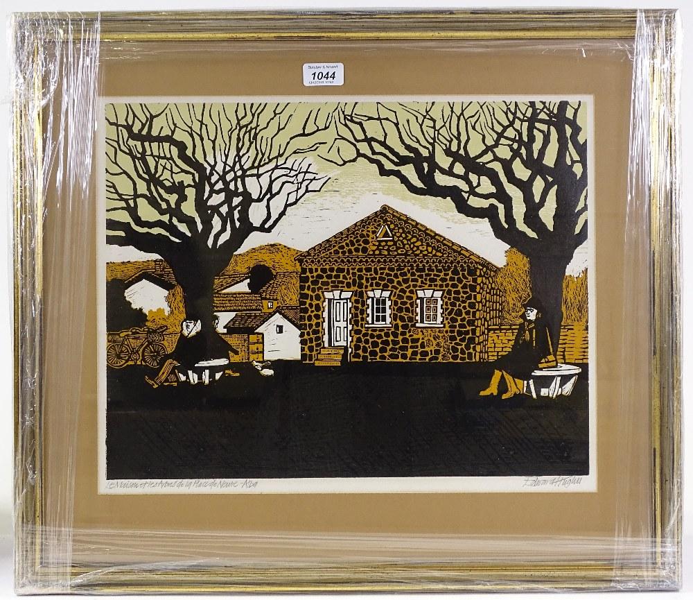 Lot 1044 - Edward Hughes (1923 - 1991), lino-cut, le maison e