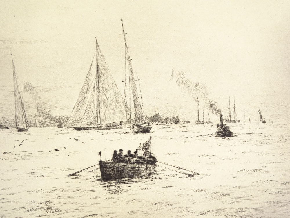 Lot 1046 - Rowland Langmaid, etching, shipping at Portsmouth,