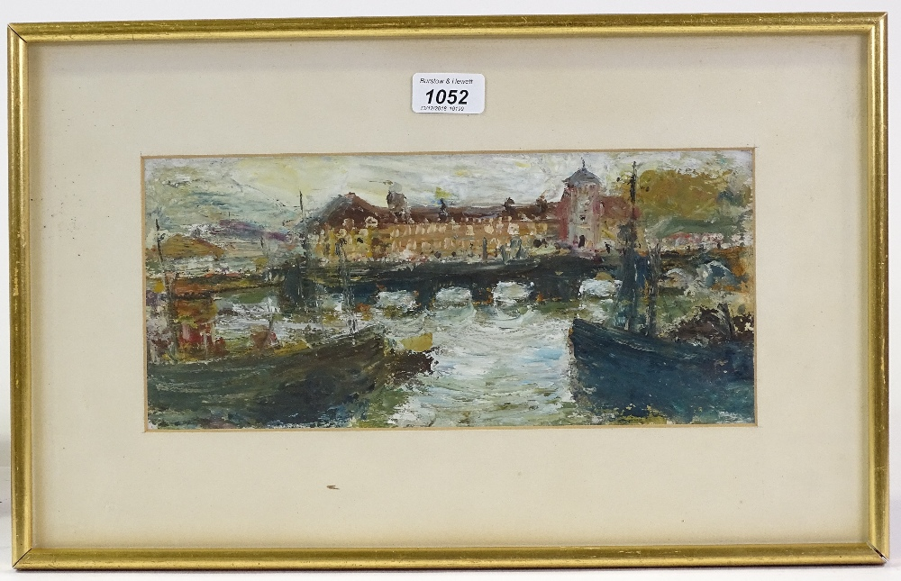 Lot 1052 - Manner of Jack Butler Yeats, oil on card, harbour
