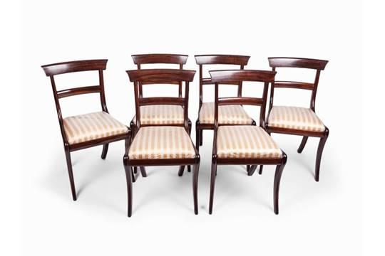 regency, 6 esszimmerstühle, palisander und mahagoni, um 1820, Esszimmer