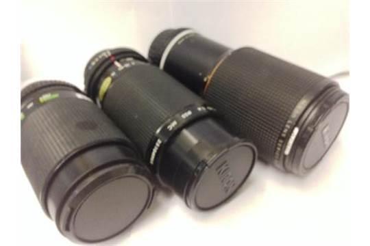 Zoom lens lot x 3 - Kiron 80-200, Nikon 70-210, Infravision