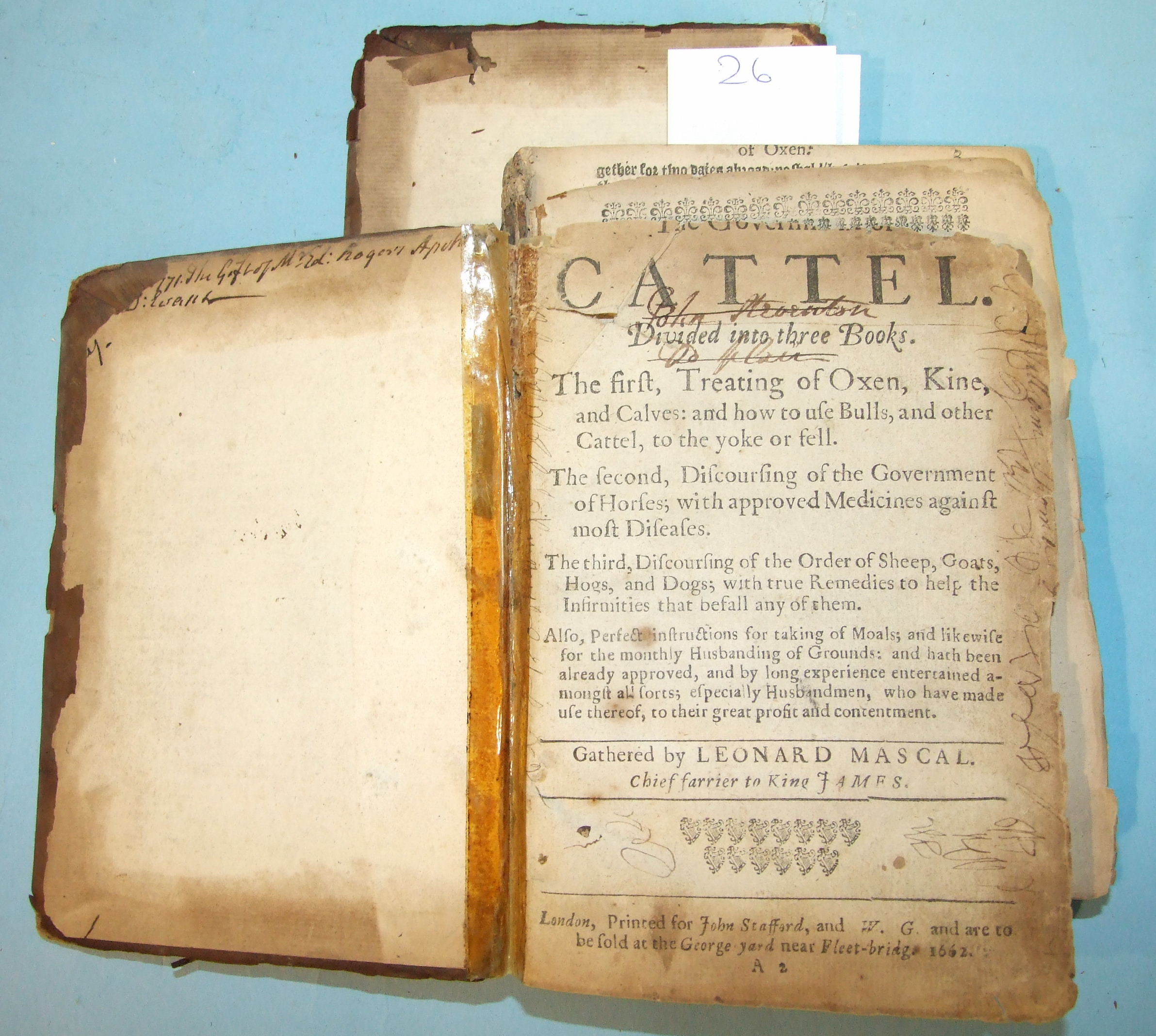 Lot 34 - Mascal (Leonard), The Government of Cattel Divided into Three Books, all three present and dated
