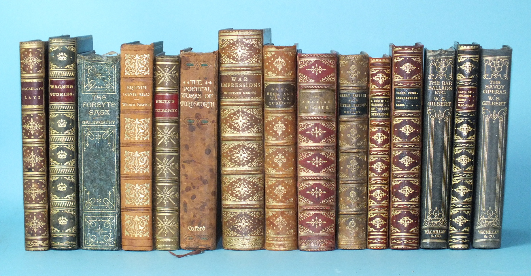 Lot 5 - Bindings, fifteen leather-bound volumes.