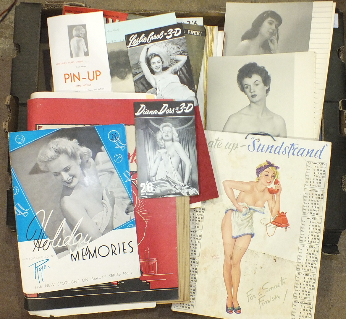 """Lot 145 - A quantity of 'glamour' photographs, two Roye-Vala stereo glamour booklets, """"Diana Dors"""" and """"Leslie"""