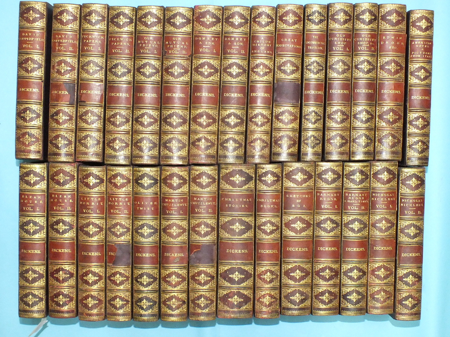Lot 13 - Dickens (Charles), Works, 29 volumes (of 30), illus by H K Browne and others, teg, hf mor gt, marble