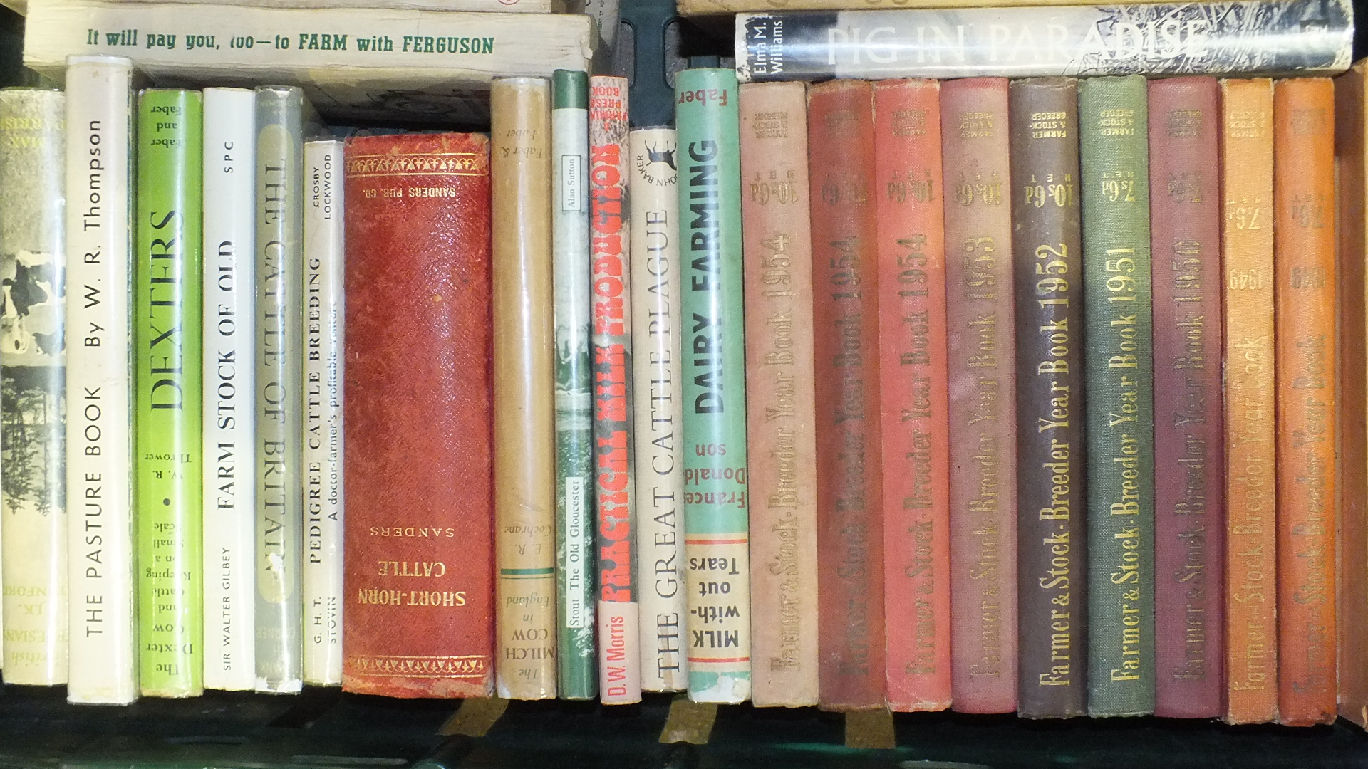 Lot 10 - Farmer and Stock Breeder Year Books, 1949 (2), 1950-1953, 1954 (3) and a quantity of books on cattle