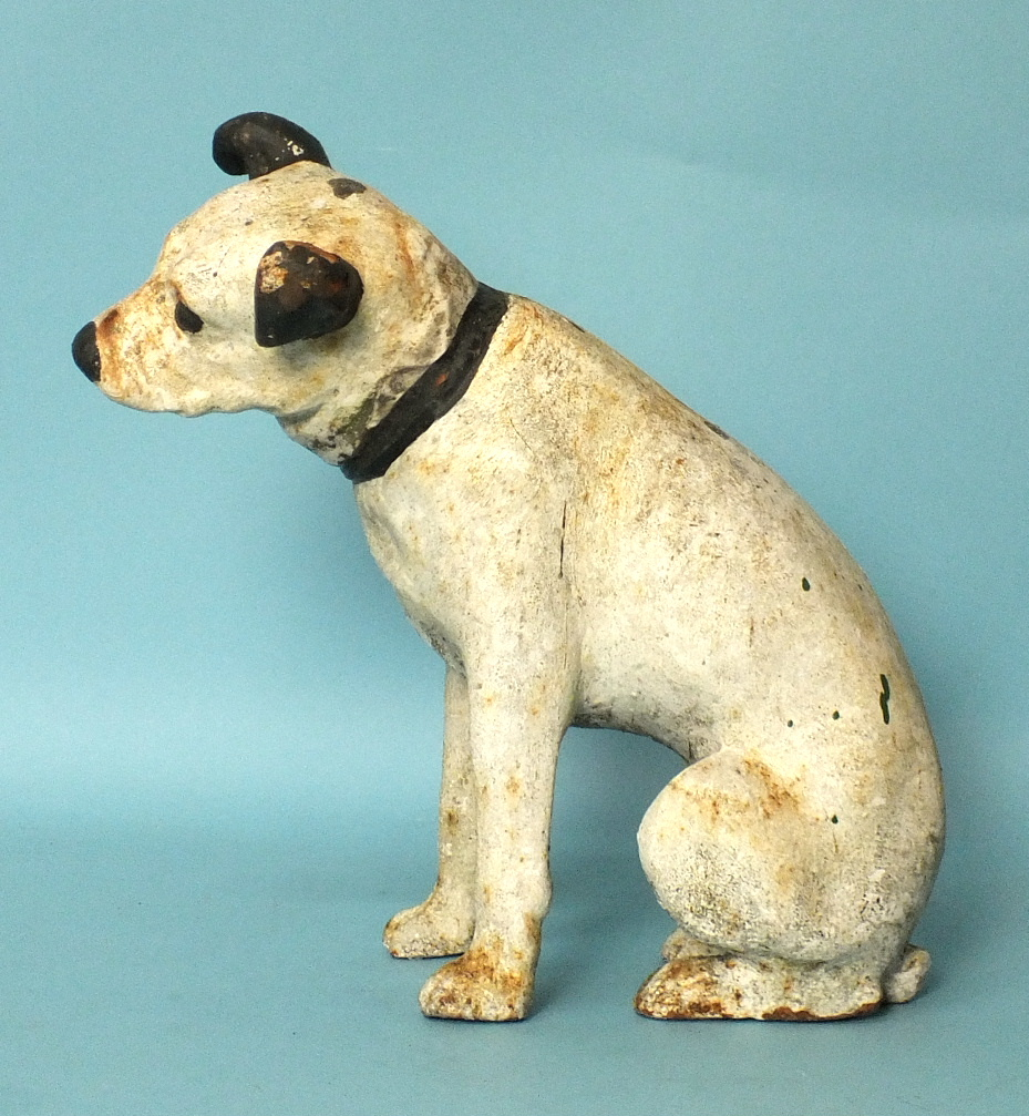 Lot 552 - An early-20th century cast iron model of Nipper, the HMV dog, 35.5cm high.