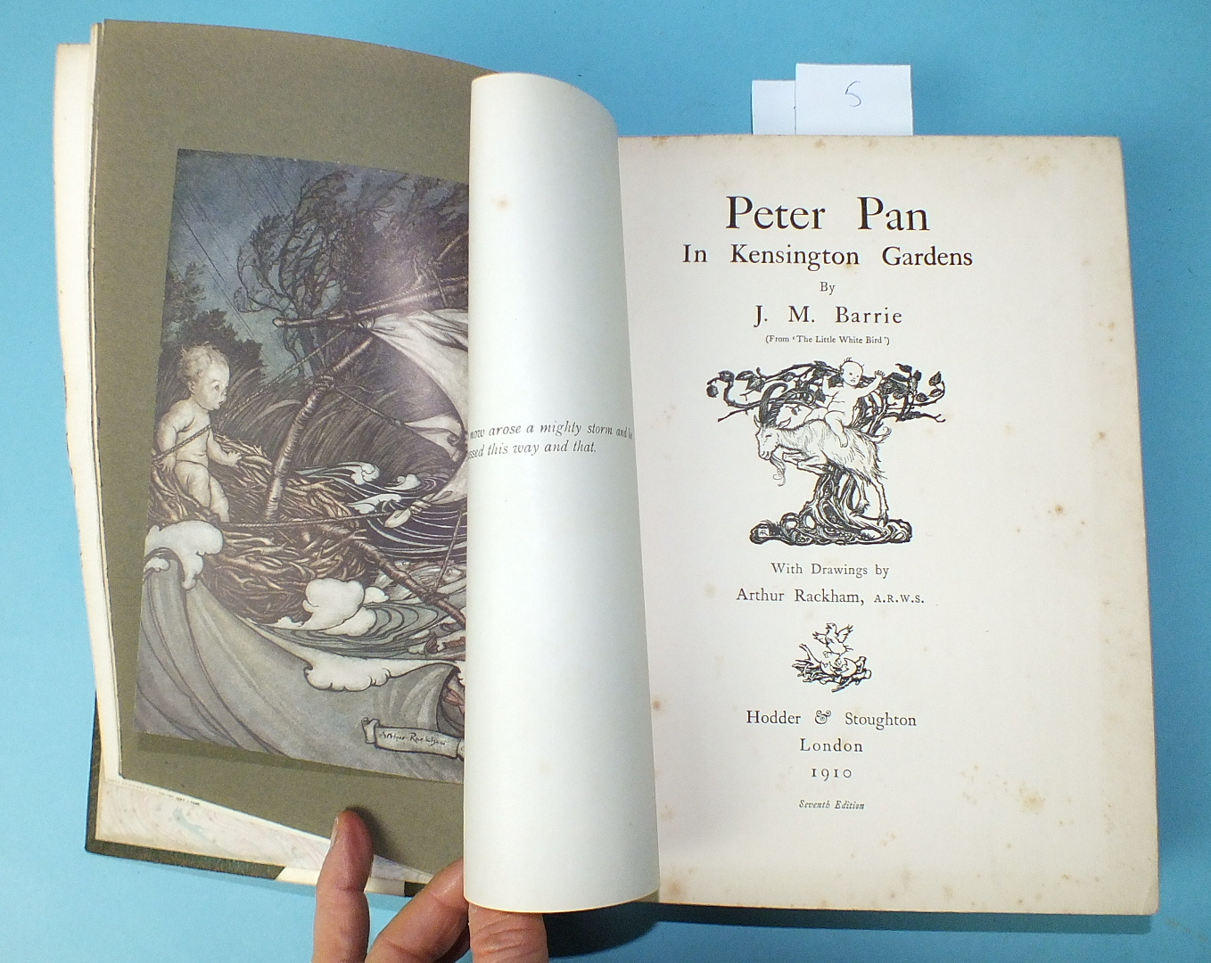 Lot 15 - Barrie (Sir J M), Peter Pan in Kensington Gardens From the Little White Bird, 50 tipped-in col