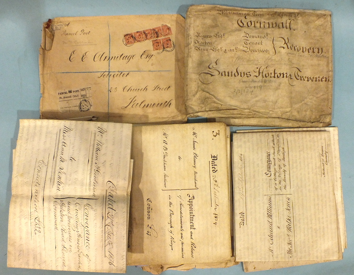 Lot 149 - A quantity of 18th and 19th century deeds, indentures, etc, written on vellum and paper, including