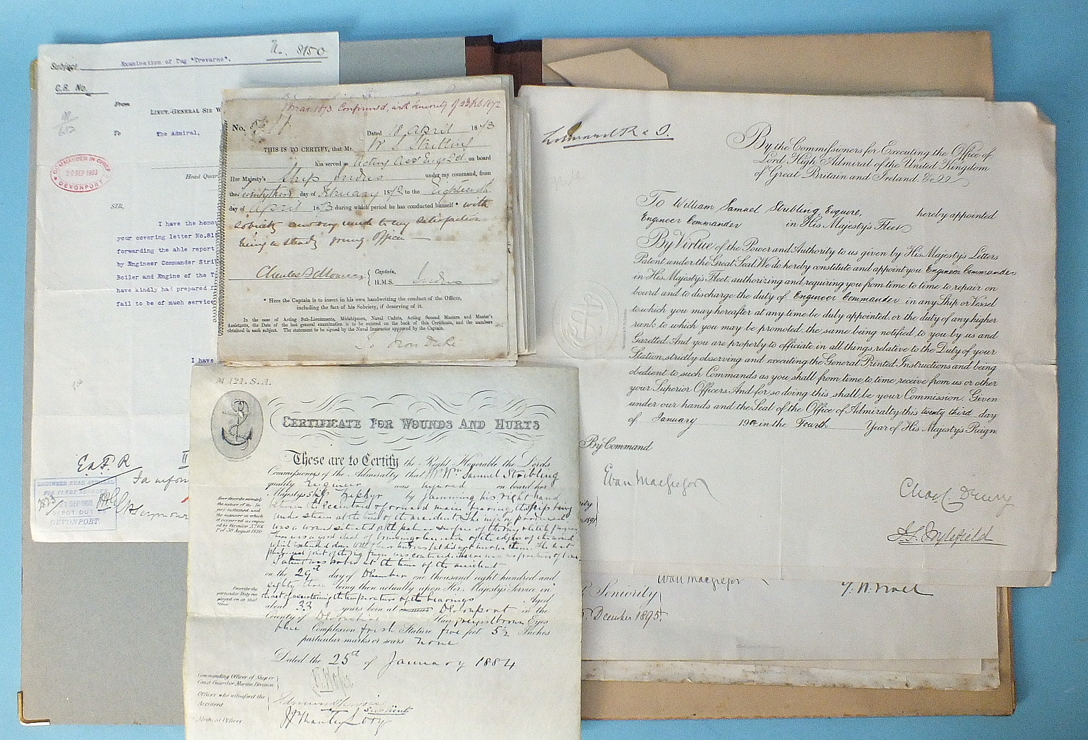 Lot 133 - A quantity of Royal Navy documents for William Samuel Stribling, including eight commissions to