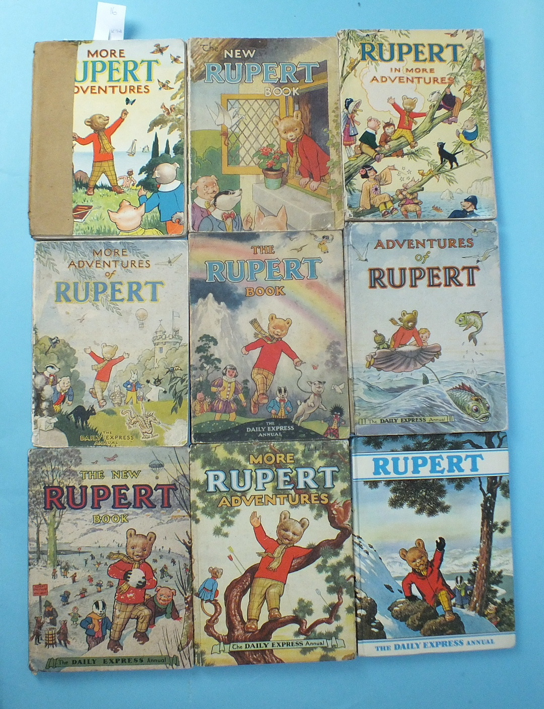Lot 3 - Nine Rupert Annuals: More Rupert Adventures 1943, (a/f, spine taped badly), Rupert in More