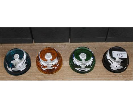 """A group of four Baccarat glass paperweights """"The Royal Cameos in Crystal"""", boxed with stands and certificates.  Condition - v"""