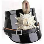 TSCHAKO POLIZEI WESTBERLIN, für Mannschaften, so getragen 1962-1968, schwarzer Fiberkorpus, je 2
