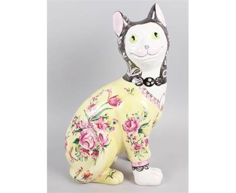 """A well reproduced """"Galle cat"""", 13"""" high, and a Copenhagen model of a faun with a rabbit, 439, 5 1/2"""" high (rabbit ear chipped"""