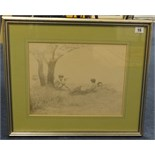 Lot 15 - C.Sawnton, three pencil pictures of three fauns and two female nudes 1893 largest 28cm x 36cm,