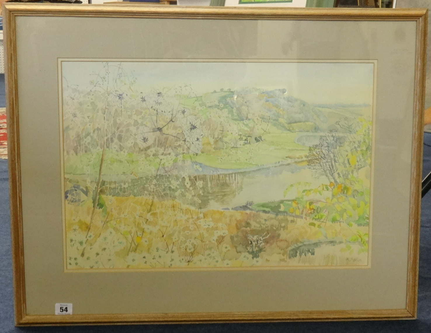 Lot 54 - Mary Martin (born 1951) signed watercolour, 'Old Mans Beard, River Tamar, Cornwall', 38cm x 56cm.