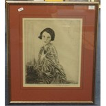 Lot 5 - Joseph Swifore, portraits of two ladies, etchings 32cm x 23cm and 32cm x 26cm (2).