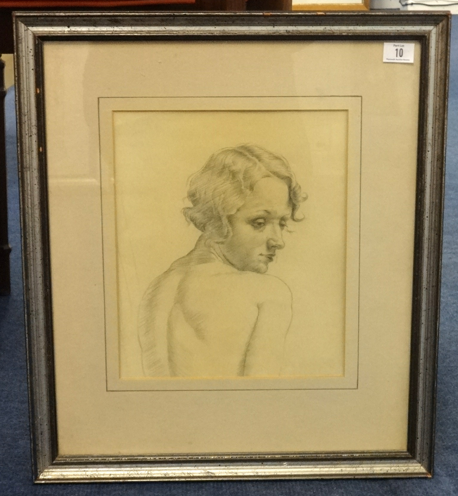 Lot 010 - Frank Potter, RA Sepia bust sketch of lady 24cm x 20cm, also charcoal pencil sepia head and bust