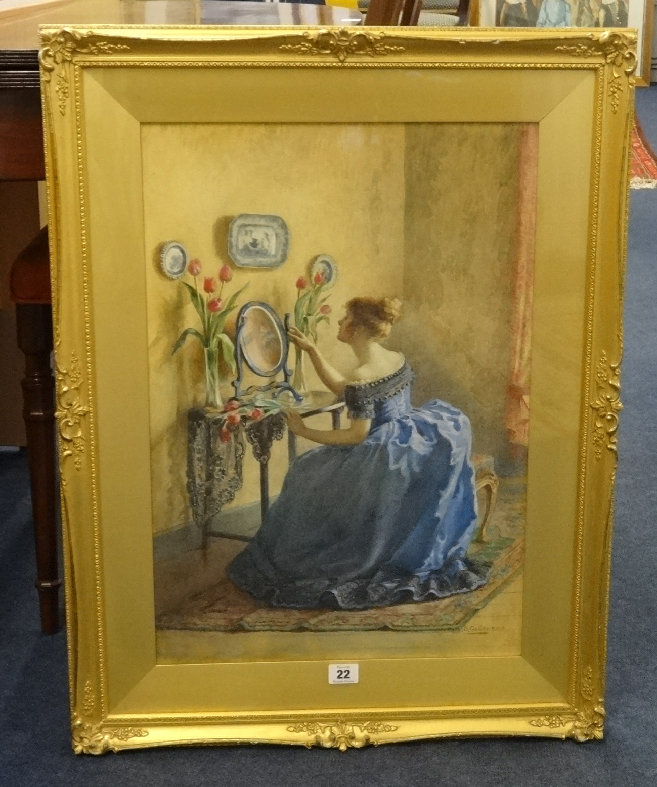 Lot 022 - Cath B Gulley RWA (fl. 1908-1928), signed watercolour in original gilt and swept frame 'Lady