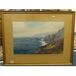 Lot 20 - G.Trevorn?, Cornish signed watercolour coastal scene, 36cm x 54cm.