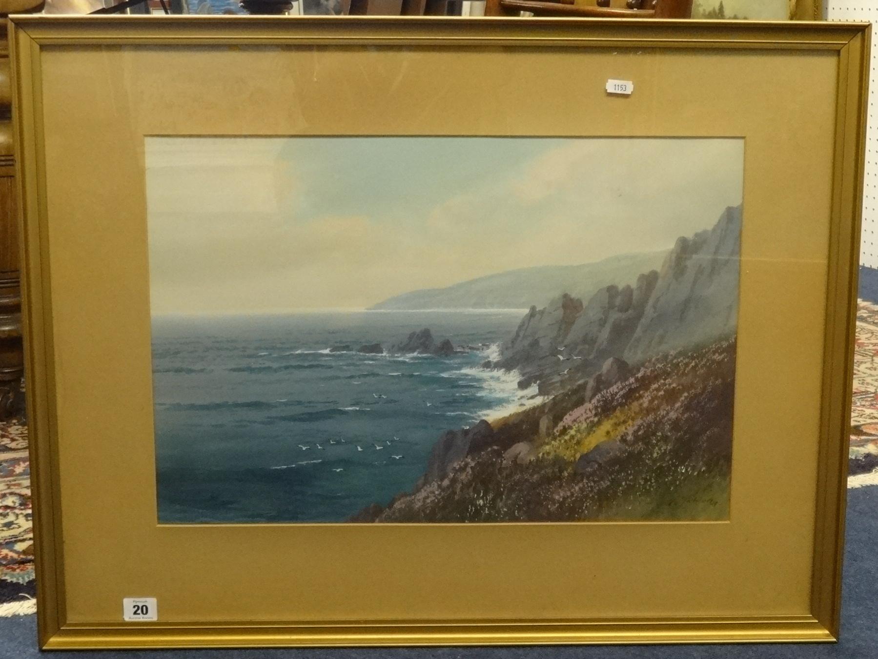 Lot 20 - G.Trevorn?, Cornish signed watercolour coastal scene, 36cm x 54cm.
