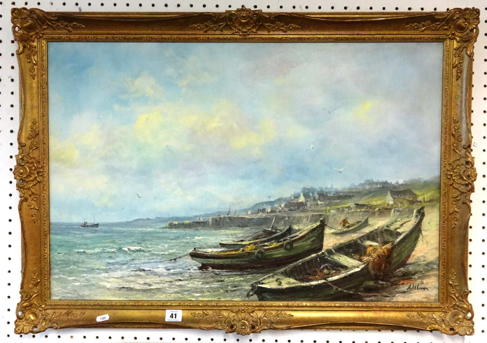 Lot 041 - Allon?, 20th Century signed oil on canvas, fishing boats beached on the coast, 50cm x 76cm.
