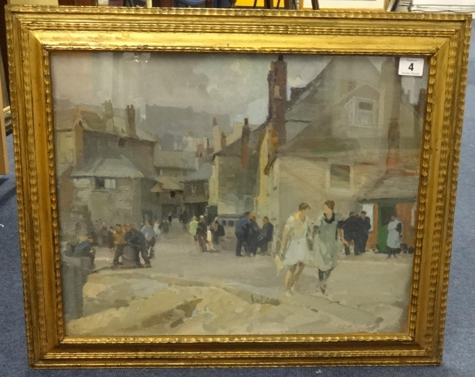 Lot 4 - John Frederick Pettinger (1877-1939) signed oil 'Quayside, St Ives, Cornwall', 38cm x 47cm.