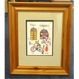 Lot 039 - Brian Pollard, signed watercolour 1991, Cyclist and Bread Shop, 17cm x 13cm, This painting is