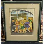 Lot 044 - Beryl Cook, print 'Hen Party, The Dolphin Hotel' signed 50cm x 40cm.