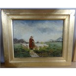 Lot 050 - Two pairs of small Continental oil on boards, including Fisherman indistinctly signed Aublot? and