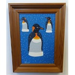 Lot 040 - Brian Pollard, signed acrylic on board, 'Penguin 2 May 1992', 25cm x 17cm, This painting is being