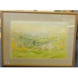 Lot 55 - Mary Martin (born 1951) signed watercolour, 'Cornish Landscape View', 37cm x 55cm.
