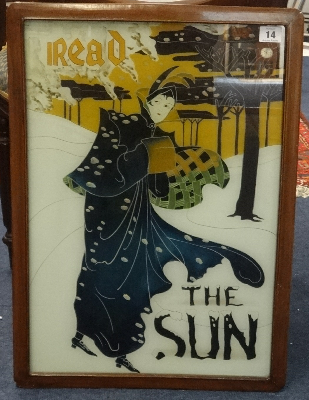 Lot 014 - Japanese style 'I read the Sun' advertising picture 53cm x 36cm.