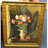 Lot 023 - Cath B Gulley RWA (fl. 1908-1928), signed watercolour, still life, flowers in a jug, paper label