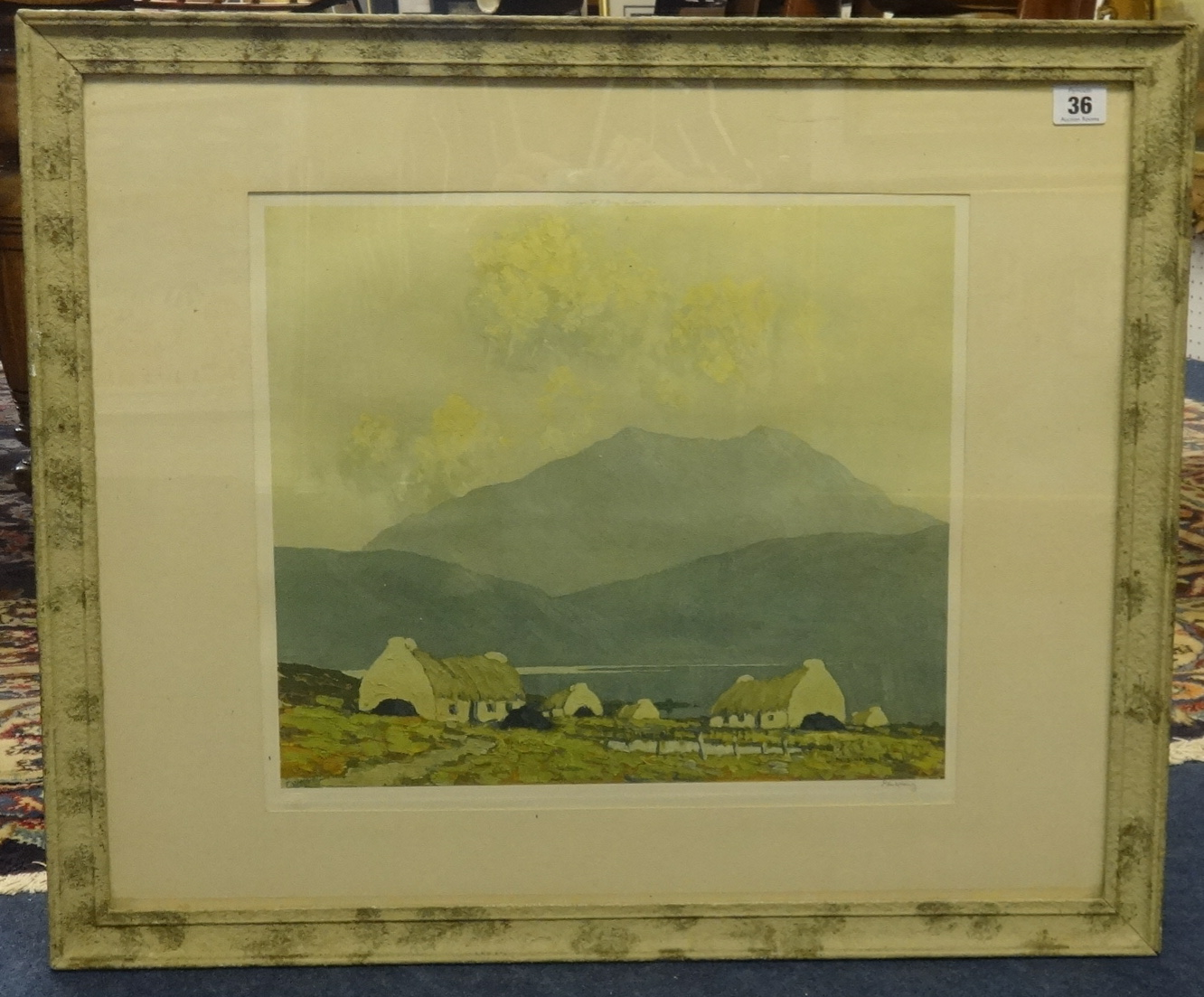 Lot 36 - After Paul Henry, coloured print, Irish landscape, signed in pencil, 36cm x 40cm.